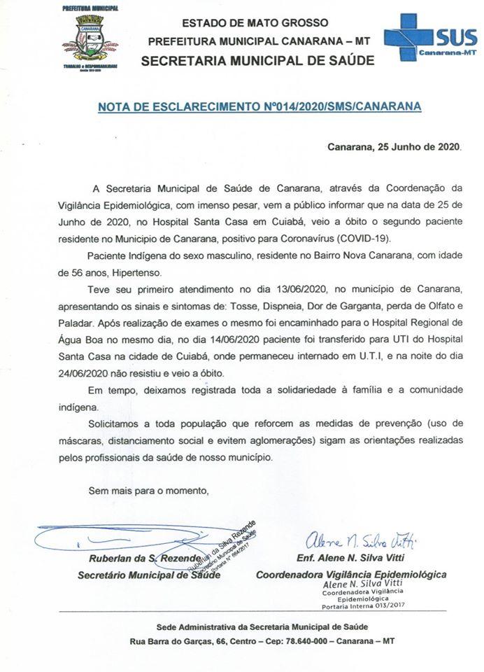 Nota de Esclarecimento informa sobre o segundo óbito por Covid-19 de morador de Canarana